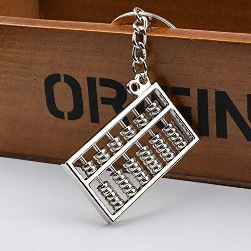 yqs Llavero Herramienta de Llavero Creativo único Abacus Cadena de Llave Antigua Estilo clásico Llavero Silver