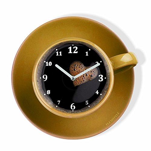 FLEXISTYLE - Reloj de pared de cocina moderno, taza perfetta para café, amarillo, 30 cm, silencioso, cristal plexi, diseño moderno, fabricado en la UE