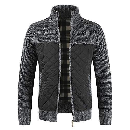Suéteres de los hombres Otoño Invierno caliente suéter de punto Chaquetas cremallera Cardigan Empalme Abrigos