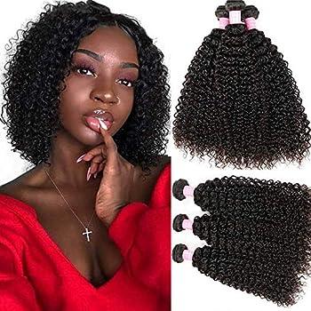 Kinky Curly Hair Grade 8A Curly Weave Human Hair Bundles Unprocessed 100% Human Hair Brazilian Kinkys Curly Hair 3 Bundles Hair Extensions Natural Black Color 8 10 12