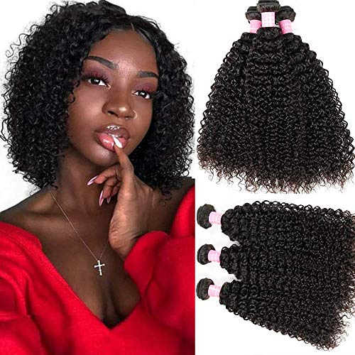 8A Brazilian Unprocessed Virgin Kinky Curly Human Hair Weave 3 Bundles Kinkys Curly 100% Human Hair Extensions Mixed Length Natural Color(14 16 18)