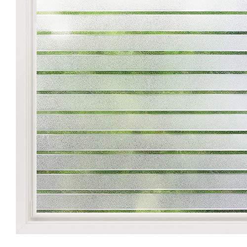 rabbitgoo Fensterfolie Streifen Sichtschutzfolie Selbstklebend Milchglasfolie Sichtschutz gestreifte Folie für Büro Anti-UV 44.5x300CM