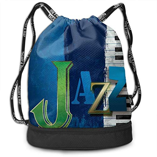 Printed Drawstring Backpacks Bags,Abstract Cracked Jazz Music Background with Piano Keys Music Themed Print,Adjustable String Closure