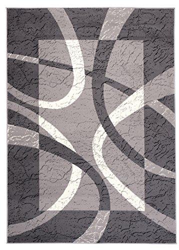 Carpeto Designer Teppich Modern Rahmen Gestreift Kurzflor Meliert In Grau - ÖKO TEX (250 x 350 cm)