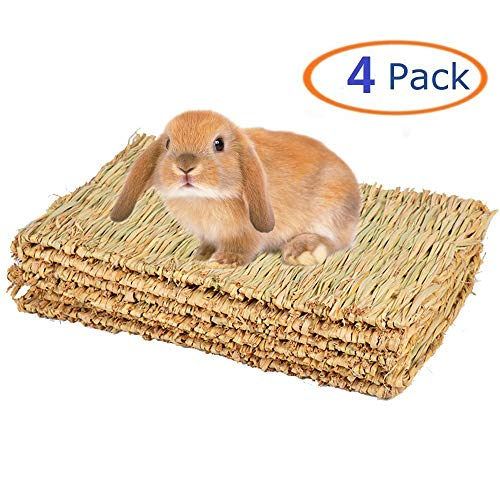 Grass Mat for Rabbit Bunny Chew Toys Woven Bed Mat for Guinea Pig Chinchilla Squirrel Hamster Cat Dog and Small Animal 4PCS