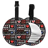 I Love London - Juego de etiquetas para maleta de piel personalizada, accesorios de viaje, etiquetas redondas para equipaje Negro Negro 4 PCS