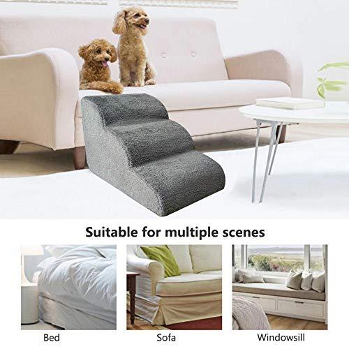 QUUY Escalera para Perros Escaleras Blandas, Escaleras para Mascotas Escalera con sofá Cama para Perros Gatos Cachorro Funda Lavable Rampa Beige Escalera de Espuma para Mascotas de 3 Pasos