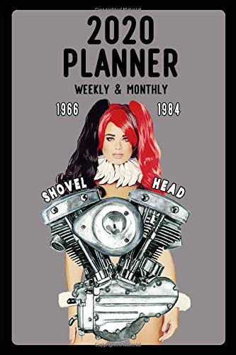 2020 Planner, Weekly and Monthly: Jan 1, 2020 to Dec 31, 2020: Weekly & Monthly View Planner, Organizer & Diary: old School Skull Shovelhead V-Twin 55-84 Pinup