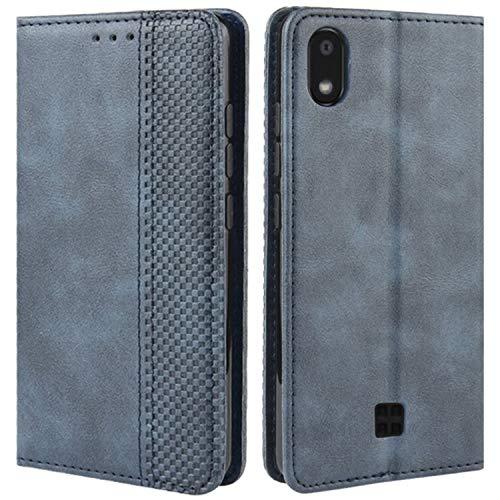 HualuBro Handyhülle für LG K20 2019 Hülle, Retro Leder Brieftasche Tasche Schutzhülle Handytasche LederHülle Flip Hülle Cover für LG K20 2019 - Blau