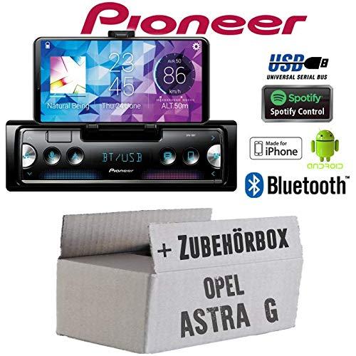 Autoradio Radio Pioneer SPH-10BT - Smartphone Empfänger mit Bluetooth | Spotify | Android | iPhone | 4x50Watt Einbauzubehör - Einbauset für Opel Astra G - JUST SOUND best choice for caraudio