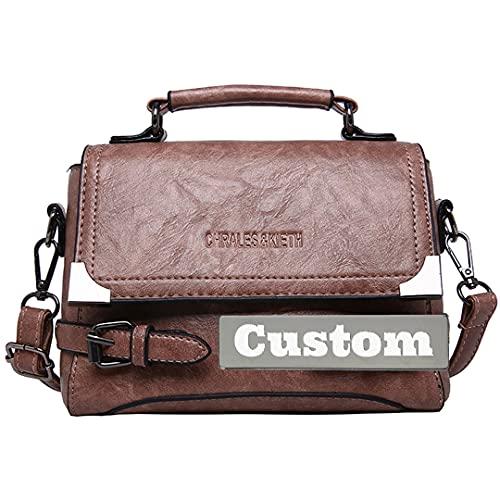 RXDZ Bolso casual de piel auténtica con nombre personalizado para mujer (color: Doushafen, tamaño: talla única)