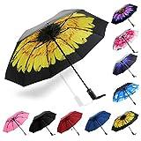Umbrella Windproof, Siepasa Travel Umbrella, Compact Folding Reverse Umbrella,-One button for Auto Open and Close (Yellow Daisies)