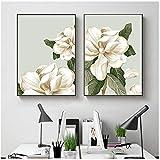 HYFBH Stampa su Tela Magnolia Bianca Poster e Stampe Arte Fiori Quadri Moderni su Tela Immagini per pareti Decorazioni per la casa-50x70cm Senza Cornice