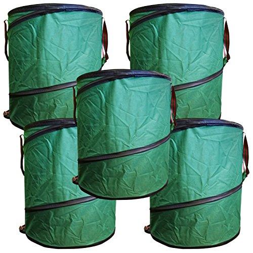 StyleKiste 5X Gartenabfalltonne Pop Up Faltbarer Gartensack 160 Liter Laubsack Maxi Set aus stabilen Oxford Nylon bis 50 Kilo