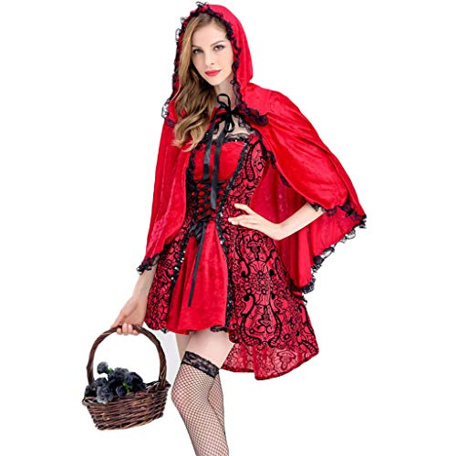 1-1 Disfraz de Halloween para Adultos para Mujer de Caperucita Roja, Bruja Vampiro Demonio Vestido Rojo Partido del Vestido Cosplay Carnival Tema del Traje,Red-S