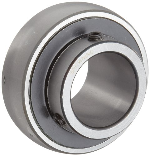 """Browning VS-219 Ball Bearing Insert, Setscrew Lock, Regreasable, Contact and Flinger Seal, Steel, 1-3/16"""" Bore, 62mm OD, 18 mm Outer Ring Width"""