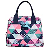 DIIG Lunch Bag for Women, Large Reusable Insulated Lunch Box for Work, Adult Foldable Tote for Office, Freezable Cooler Bag with Pocket, Gray/Floral/Flower/Flamingo Printing (Triangle)