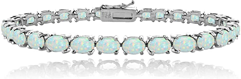 Ice Gems Sterling Silver Max 87% Free Shipping Cheap Bargain Gift OFF Genuine Oval Created Gemstone or 6x4mm