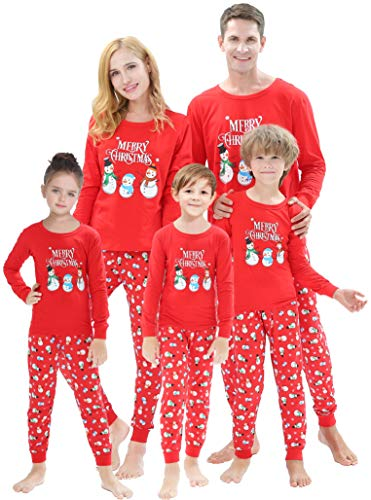 Matching Family Christmas Pajamas Boys Girls Snowman Jammies Women Men Cotton Sleepwear Kids Size 2