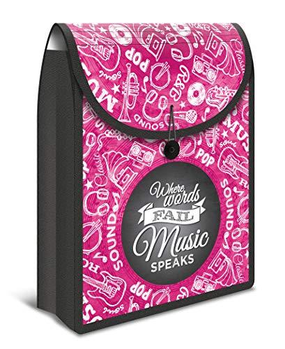 HERMA 19177 Heftbox FlexiBag DIN A4 (35 x 26 x 7 cm, aus stabiler PP-Folie, verschließbar) Kinder Heftebox für Hefte und Schnellhefter im Schulranzen und Rucksack, pink / schwarz