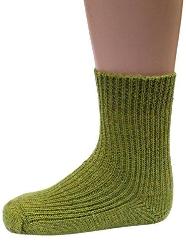 Hirsch Natur Grobstrick Socken, Strümpfe für Baby´s und Kinder aus 100% BIO Schurwolle (kbT) (31-32, Maigrün)