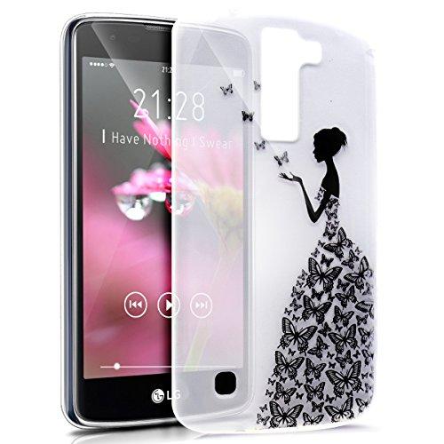 Coque LG K8,Étui LG K8,LG K8 Case,ikasus Coque LG K8 Silicone Étui Housse Téléphone Couverture TPU avec motif papillon fille Ultra Mince Premium Semi Hybrid Crystal Clear Flex Soft Skin Extra Slim TP