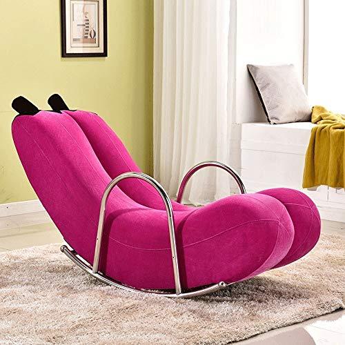 ZRWZZ banaan schommelstoel ligstoel met houten frame staal enkele luie bank schommelende stoel schattig slaapkamer klein appartement bank geschikt voor kinderen en volwassenen