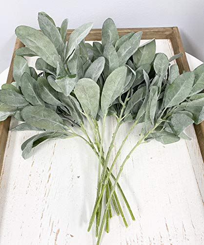 Angel Isabella Set of 10 Stems-Flocked Lamb's Ear Spray Grey Green Perfect for Vintage Rustic Bouquet Boutonniere Hair Piece Wreath Arrangements