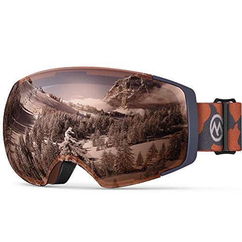 OutdoorMaster Ski Goggles PRO - Frameless, Interchangeable Lens 100% UV400 Protection Snow Goggles for Men & Women ( Camo Frame VLT 10% Grey Lens with REVO Silver and Free Protective Case)