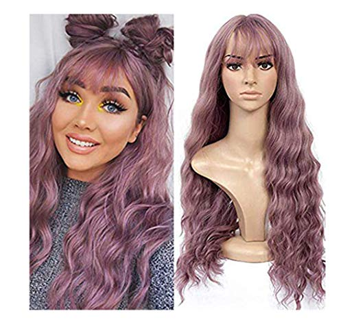 JoyJay Wigs For Women,Sexy Long Wave Fashion Synthetic Wig Purple Natural Curly Wavy Costume Cosplay Wig-Wigs For Women Fancy Dress- Headwear With Gifts Hair Loss Available-Amazon's Choice(24inch)