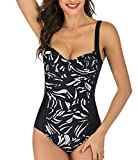 T1FE 1SFE Swimsuits for Women One Piece Stripes Bathing Suit Ruched Tummy Control Swimwear (Black 3, S(US 4-6))