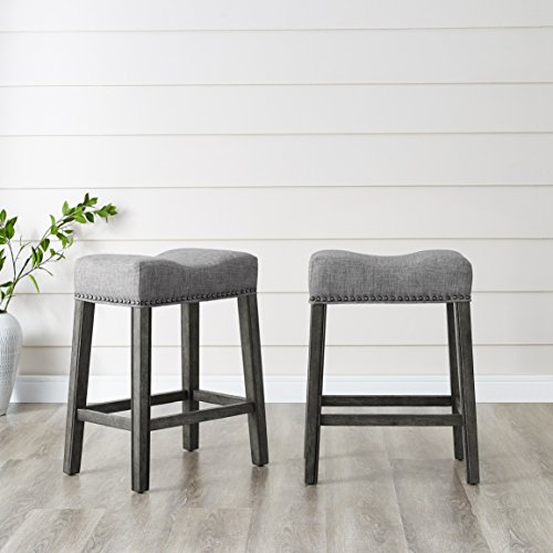 Roundhill Furniture Coco Upholstered Backless Saddle Seat Counter Stools 24' Height Set of 2, Gray