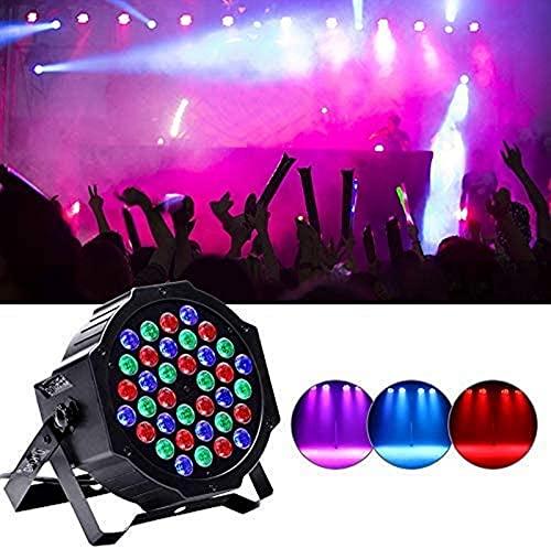 ZJDM Luces LED Par Can 36 LED x 3W Luz de Escenario Iluminación RGB por Control Remoto y 512 Control de Sonido Activado para espectáculos de iluminación de Escenario de Banquete de Boda