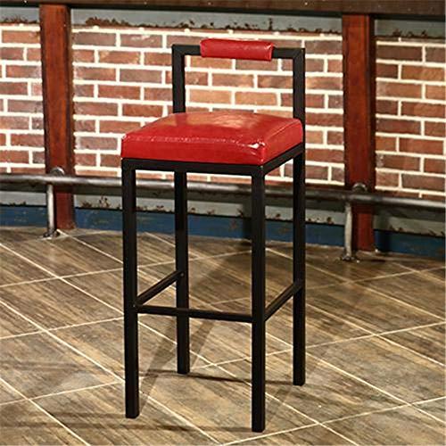 KTSWP Taburete de Bar Minimalista nórdico Moderno Taburete taburetes Altos hogar Hierro Forjado cafetería Mesa de Tira de Madera Maciza,Red