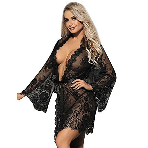Preisvergleich Produktbild Ansenesna Reizwäsche Damen Erotik Schwarz Weiß Spitze Transparente Robe Babydoll Frauen Leidenschaft Versuchung Nachtwäsche (XL,  Schwarz)