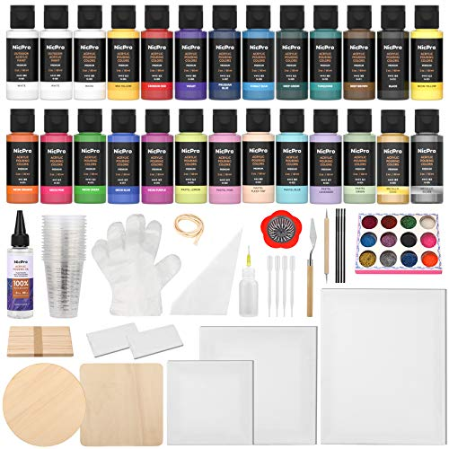 Nicpro 26 Colors Acrylic Pour Paint Kit, Premixed High Flow Pouring Supplies Set Including Canvas, Wood Natural Slices, Pouring Oil, Tools Gloves, Strainer, Cups for Beginner DIY Painting