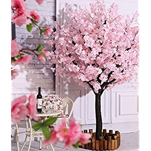 Vicwin-One Artificial Cherry Blossom Trees Japanese Cherry Blossom Pink/Light Pink Fake Sakura Flower Indoor Outdoor Home Office Party (Light Pink, 6FT Tall/1.8M)