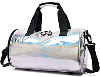 Sports Gym Bag,Women Sports Holdall Bag With Shoes Compartment And Wet Pocket, Waterproof Crossbody (Color : Silver)