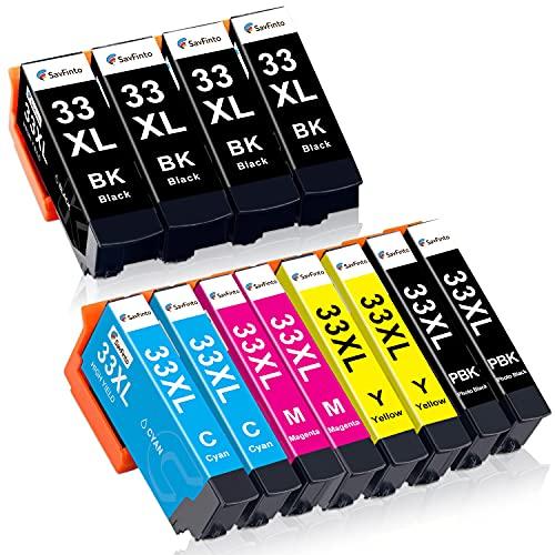 SavFinto 33XL Cartuchos de tinta compatibles para Epson 33 XL para Expression Premium XP-900 XP-540 XP-7100 XP-830 XP-630 XP-530 XP-640 XP-645 XP-635 (paquete de 12)