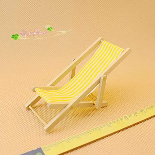 bhzha Strand Street View Puppenhaus Zubehör Micro Landscape Folding Beach Chair Mehrfarbig gestreiften Stuhl Spielzeug