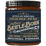 Battle Born Grooming Co Original Pomade (Bay Rum, 4 oz)   Medium Hold   Low Shine   Natural Ingredients   Water Based