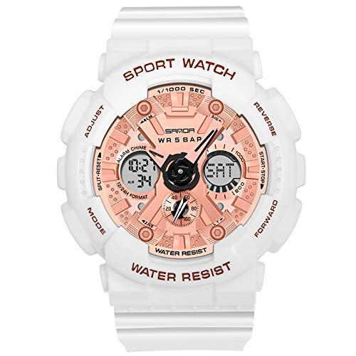RORIOS Relojes Mujer Hombre Digital Militares Relojes de Pulsera Impermeable Deportivo Reloj Multifuncional Reloj Moda Unisex Reloj Oro Rosa Blanco