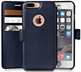 LUPA Wallet case for iPhone 8 Plus Wallet Case, Durable and Slim, Lightweight with Classic Design & Ultra-Strong Magnetic Closure, Faux Leather, Navy Blue, Apple 8 Plus