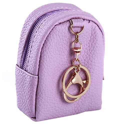 SUNSKYOO Münztüte Keychian PU Leder Kreative Quaste Tasche Anhänger Tragbare Mini-Portemonnaie, Violett