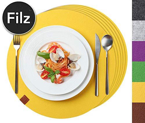 Sidorenko Edles Platzset rund aus Filz - 6er Set gelb - Tischset Abwischbar Ø 38cm Filzuntersetzer - abwaschbare Tischuntersetzer Platzdeckchen - Untersetzer Filzmatte