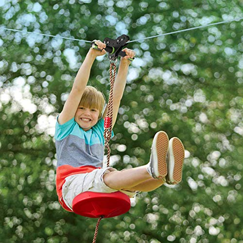 DEDAYL 100 Foot Zip Line Kit for Kid,Ziplines for Backyard Kids Adult Play Set with Stainless Steel Spring Brake and Seat