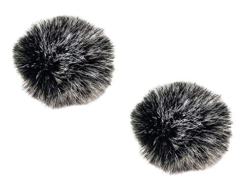 2Pcs Microphone Pop Filter Windscreen Cover for Small Microphones, Furry Muff Outdoor Windproof for Most Lavalier Microphones Lapel Headset