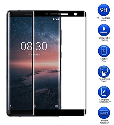 Nokia 8Sirocco, pellicola Vicstar copertura completa vetro temperato, resiste a graffi durezza 9H trasparente per Nokia 8Sirocco–nero