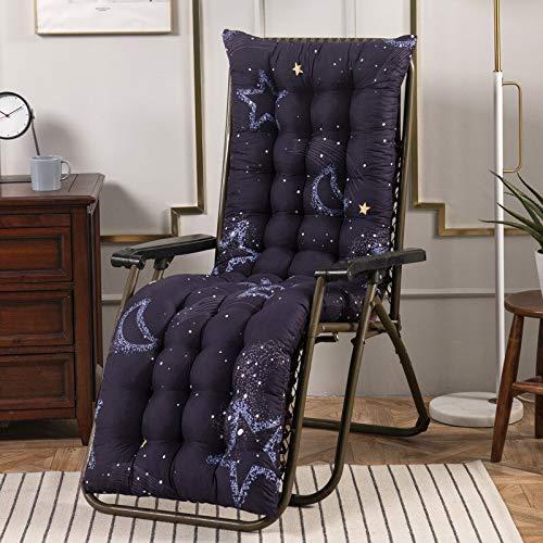 Topstylehouse Cojín reclinable para tumbona, suave, grueso, transpirable, mecedora, cómoda, duradera, para silla de jardín, tumbona, sillón reclinable (Black-Moon, 53 x 170 cm, 1 unidad)