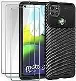ivoler Coque pour Motorola Moto G9 Power, avec Pack de 3 Protection écran en Verre Trempé, Fibre...